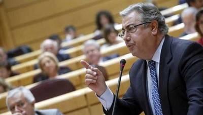 Juan Ignacio Zoido durante su interevención en el Senado la tarde de este martes...