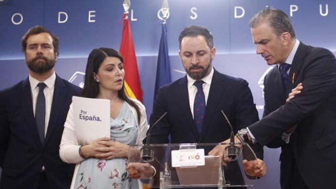 Los diputados de Vox Iván Espinosa de los Monteros, Macarena Olona, Santiago Abascal y Javier Ortega Smith en una foto de archivo.