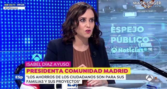 La presidenta de la Comunidad de Madrid, Isabel Díaz Ayuso (captura de pantalla)