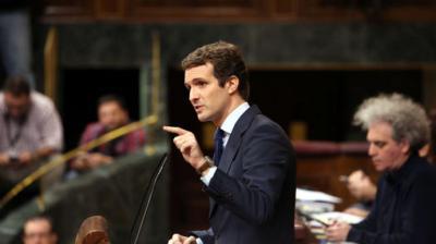 """Casado exige a Sánchez que rompa con Otegi y Torra, no con el PP, y le acusa de una """"victimización que nadie se cree"""""""