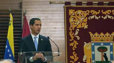 Juan Guaidó durante su comparecencia en el Ayuntamiento de MadridCONSTANZA LAMBERTUCCI