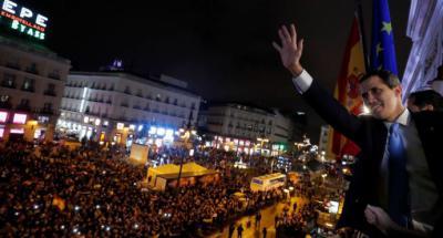 """""""Pronto estaremos juntos de nuevo"""", dice Juan Guaidó ante miles de venezolanos en Madrid"""