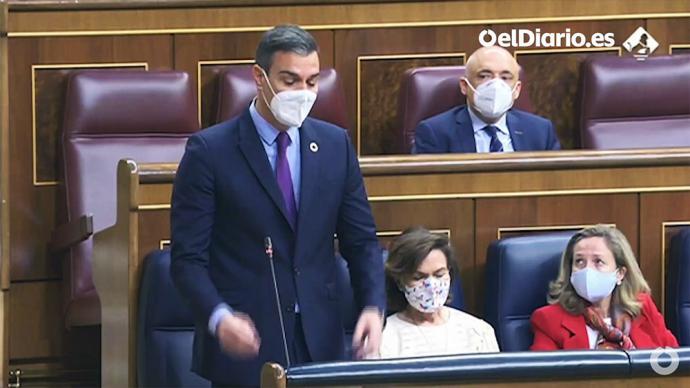 El presidente del Gobierno, Pedro Sánchez, este miércoles, en el Congreso.