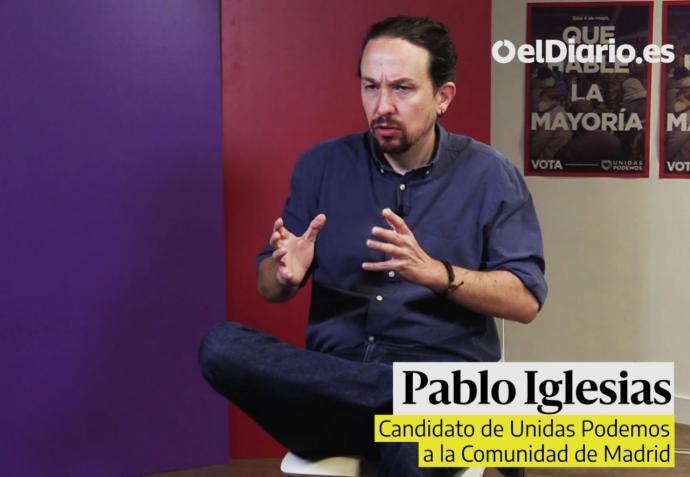 El candidato de Unidas Podemos a la Presidencia de la Comunidad, Pablo Iglesias (captura de pantalla)