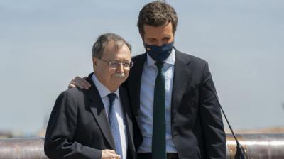 El presidente de Ceuta, Juan Jesús Vivas, junto a Pablo Casado, en una imagen de archivo.PP