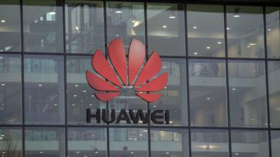 Emblema de Huawei, en la sede central del grupo, en la ciudad china de Donguang.