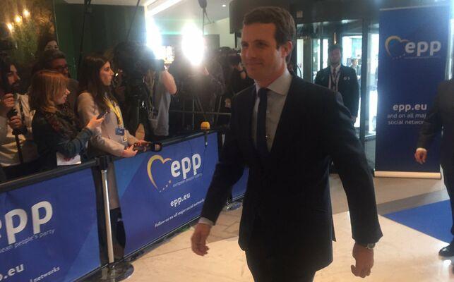 Pablo Casado, a su llegada a Bruselas a una reunión del PPE, el 28 de mayo de 2019. @EPP