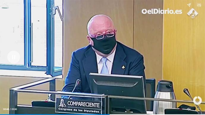El comisario jubilado José Manuel Villarejo durante su comparecencia ante la comisión de investigación de Kitchen en el Congreso.(captura de pantalla)