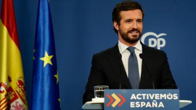 El líder del PP, Pablo Casado, este martes.PP