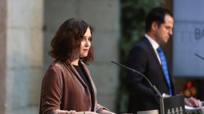 La presidenta de la Comunidad de Madrid, Isabel Díaz Ayuso, y el vicepresidente madrileño, Ignacio Aguado.