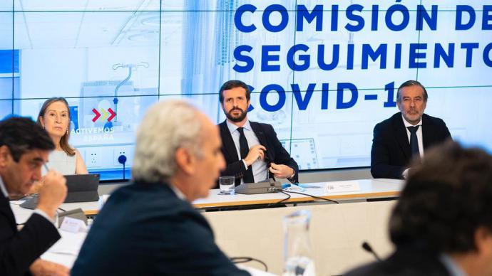 Casado, durante la Comisión de Seguimiento de la COVID-19 del PP.David Mudarra / PP