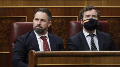 El portavoz del VOX en el Parlamento, Iván Espinosa de los Monteros y el presidente del partido, Santiago AbascalJavi Martínez / Pool – Archivo