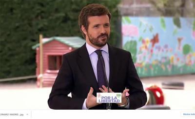 Pablo Casado, este lunes, en un colegio de Madrid.(Captura de pantalla)