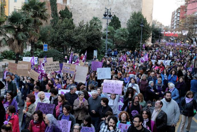Un aspecto de la marcha del 8-M