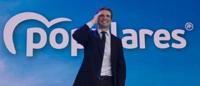 El presidente del PP, Pablo Casado, en la Convención Nacional de su partido. FLICKR