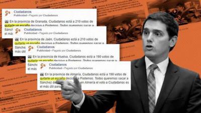 Ciudadanos engañó a los votantes con campañas pagadas en Facebook para llamar al voto con datos falsos