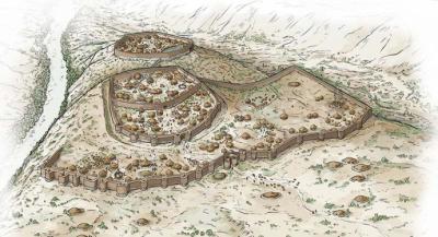 Ilustración del poblado de Los Millares, la primera ciudad de la Península Ibérica (Autor:Iñaki Dieguez Uribeondo)