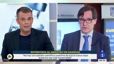 El ministro Salvador Illa durante su entrevista en RTVE este martes (captura de pantalla)