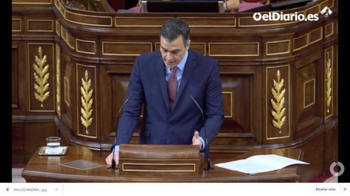 Presidente Sánchez durante su intervención en el Congreso (captura de pantalla)