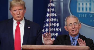 El doctor Anthony Fauci  junto al presidente de Estados Unidos, Donald Trump