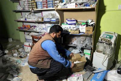 Imagen de la farmacia de un hospital en Siria.
