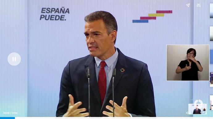 Pedro Sánchez en su discurso al IBEX-35 (captura de pantalla)