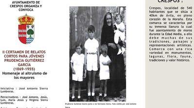 Convocado el II Certamen de relatos cortos para jóvenes 'Prudencia Gutiérrez García' (1869-1955), en homenaje al altruismo de los mayores