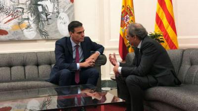 Pedro Sánchez y Quim Torra en su encuentro en PedralbesMONCLOA