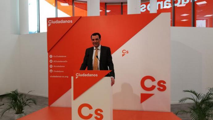 Juan Carlos Bermejo, en una rueda de prensa en la sede de Ciudadanos.