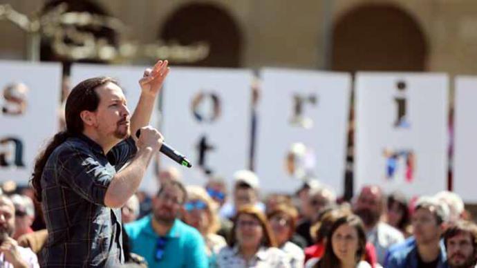 Pablo Iglesias, en el acto de campaña en Pamplona (Navarra) este sábado