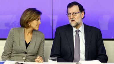 María Dolores de Cospedal y Mariano Rajoy durante un Comité Ejecutivo del PP.