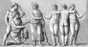 Hermes and a trickster approaching a disapproving Asclepius - god of medicine - and his daughters (Meditrine, Hygeia and Panacea)