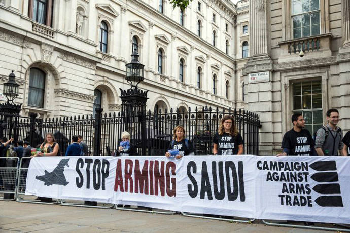 London, UK. 11th July, 2016. Human rights campaigners protest against arms sales to Saudi Arabia used in human rights abuses in Yemen outside Downing Street