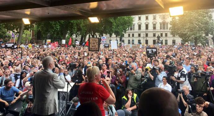 Jeremy Corbyn addressing antiausterity marchers
