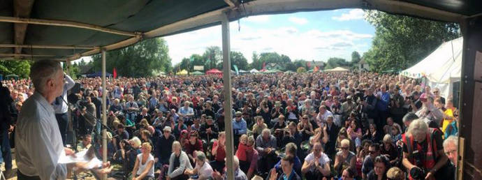 Jeremy Corbyn at Burston, UK