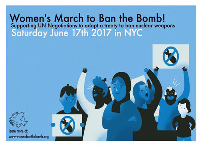 "An ad for the ""ban the bomb"" march on June 17"