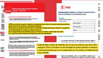 Documentos internos del PSOE sobre el CETa y el TTIP