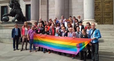Colectivos y grupos posan tras el registro de la Ley de Igualdad LGTBI