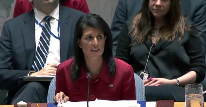 En la imagen, la embajadora de Estados Unidos ante las Naciones Unidas (ONU), Nikki Haley