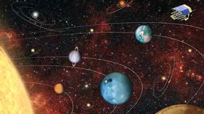 Representación artística de los sistemas planetarios que estudiará PLATO