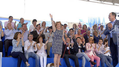 Mitin del PP de Madrid en Valdemoro, presidido por Aguirre, Granados y Sáenz de Santamaría