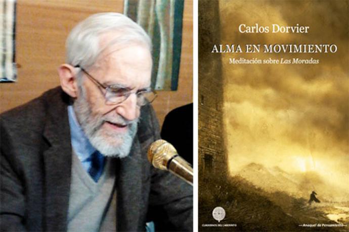 Carlos Dorvier Hernández de Velasco junto a la portada de uno de sus libros