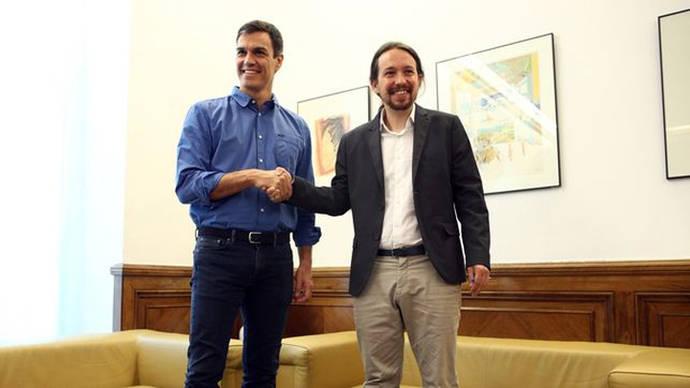 Pedro Sánchez y Pablo Iglesias en su reunión esta semana