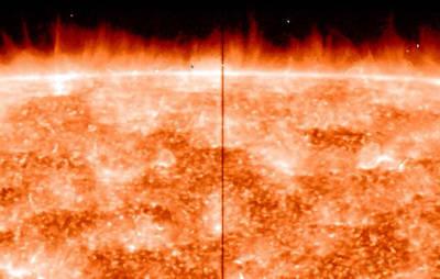 En el limbo o borde del Sol se observan multitud de espículas, que salen disparadas desde la superficie, según ha captado el satélite IRIS de la NASA