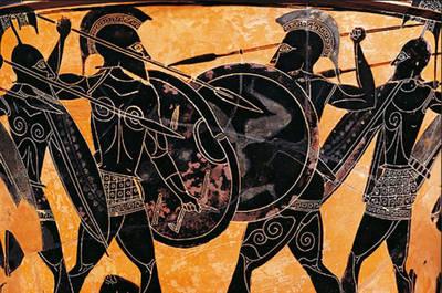 Soldados espartanos entrenándose en la época de la guerra del Peloponeso