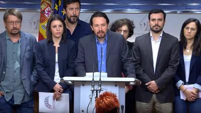 Los líderes de Unidos Podemos, durante el anuncio de que promoverán una moción de censura a Mariano Rajoy
