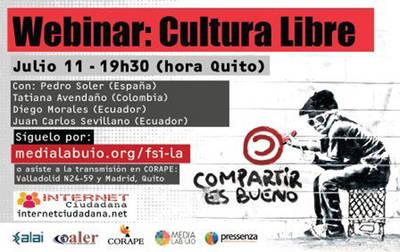 Continúa serie de webinars por una Internet Ciudadana con el tema Cultura Libre