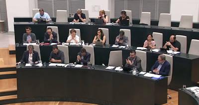 Los concejales de Ahora Madrid en el pleno del Ayuntamiento de Madrid