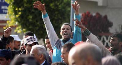 Manifestación ante el juicio a los presos políticos saharauis del campamento Gdeim Izik
