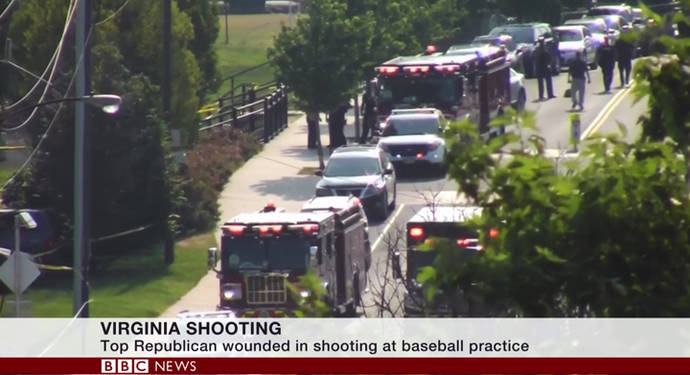 Law enforcement responds to the shooting at a baseball field in Alexandria